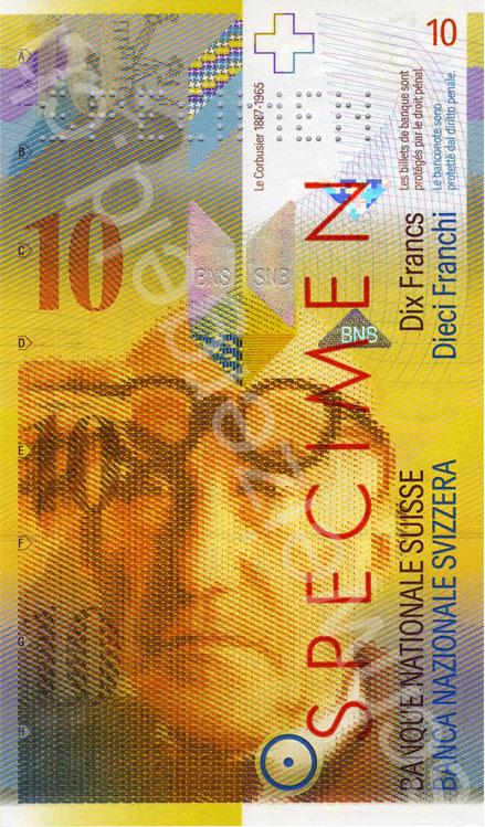 第八版10瑞士法郎紙幣上的柯布西耶
